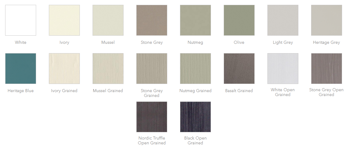 Hutton Shaker Kitchens Colour Chart