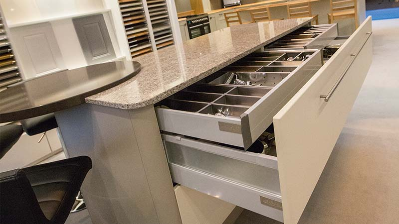 Concealed internal drawers on selected ranges